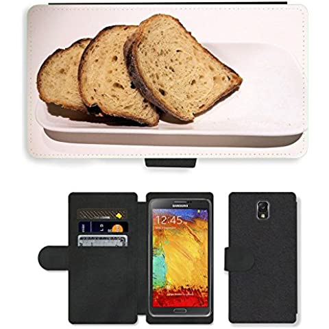 PU LEATHER case coque housse smartphone Flip bag Cover protection // M00153042 Pan de grano entero en rodajas Textura // Samsung Galaxy Note 3 III N9000 N9002 N9005