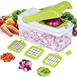 Vegetable Chopper, Adoric Food Slicer Dicer 3 Interchangeable Blades Set with Food Container
