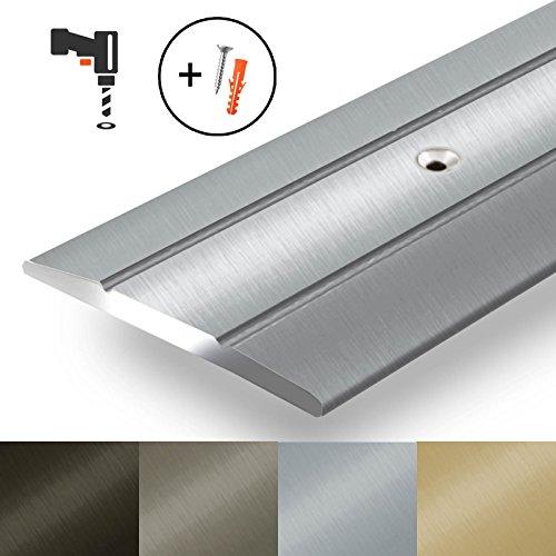 Alu Ãœbergangsprofil Firm | C Form | gelochte Abdeckleiste zum Schrauben | Breite 36 mm | eloxiert Silber | 134 cm