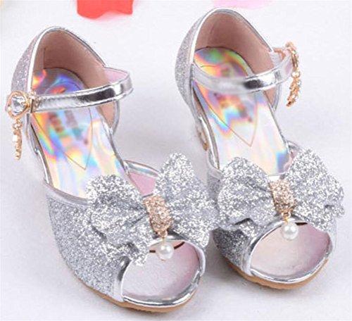 SMITHROAD Kinder Mädchen Prinzessin Schuhe Peep-Toe Sandalen Giltzend Kostüm Ballerinas Paillette Absatz Bow Dekor Gr. 25 bis 35 Silber