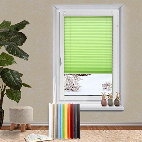 OUBO Plissee Klemmfix Jalousie ohne Bohren 55 x 120 cm (BxH) Grün Sichtschutz Klemmträgern für Fenster & Tür