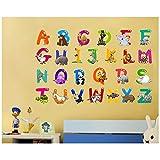 ufengke Wandsticker Alphabet Kunst Buchstaben mit Tieren Wandaufkleber Vinyl Wandtattoo Wanddekor für Kinderzimmer Schlafzimmer