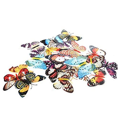 Clip de mariposa de decoracion - SODIAL(R)20pzs 10cm Clip Pinza luminoso mariposa artificial para decoracion de Boda Navidad Casa, Enviar colores al azar