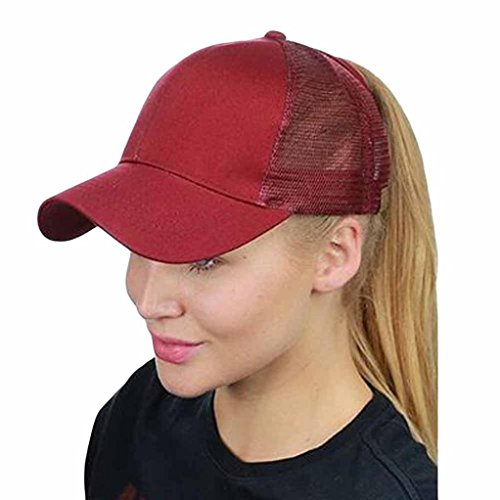 ren und Damen, Mode Frauen Männer Einstellbare Baseballmütze Hysteresenhut Hip-Hop Mesh Cap Schatten | Basecap, Baseball Cap, verstellbar (Wine Red) (Roll-up Outdoor-schatten)
