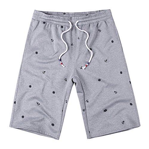 PH-27A Herren Bermuda Shorts Kurze Hose Sporthose Sport Hosen Slim Fit Trainingshose Sweatpant(S, Grey) (Kordelzug Walking Shorts)