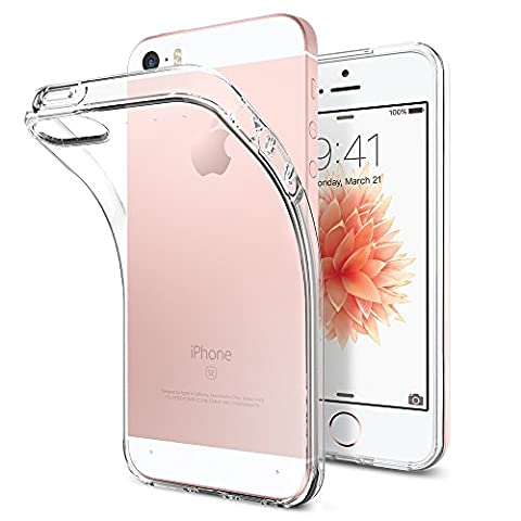 iPhone SE Hülle, Spigen® iPhone 5S/5/SE Hülle [Liquid Air] Soft Flex Transparent Silikon TPU Capsule Air Cushion Handyhülle Schutzhülle für iPhone 5S/5, iPhone SE Case Cover - Crystal Clear (041CS20247)