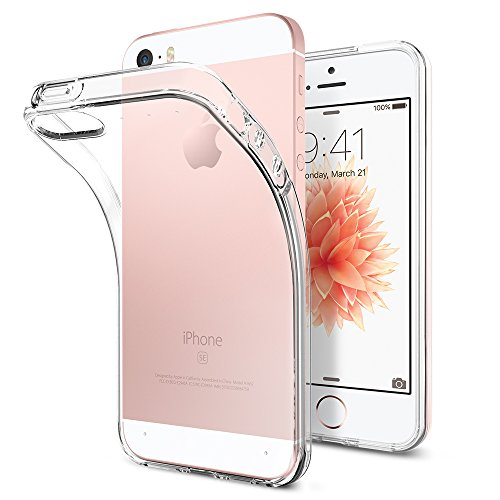 Spigen, Liquid Air, iPhone SE Hülle, 041CS20247, Transparent Silikon Handyhülle für iPhone SE/5S/5 Schutzhülle Case (Crystal Clear)