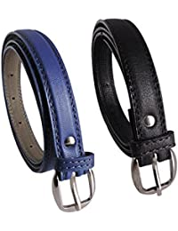 Krystle Girl's Combo Set Of 2 PU leather belts (Black & Blue)