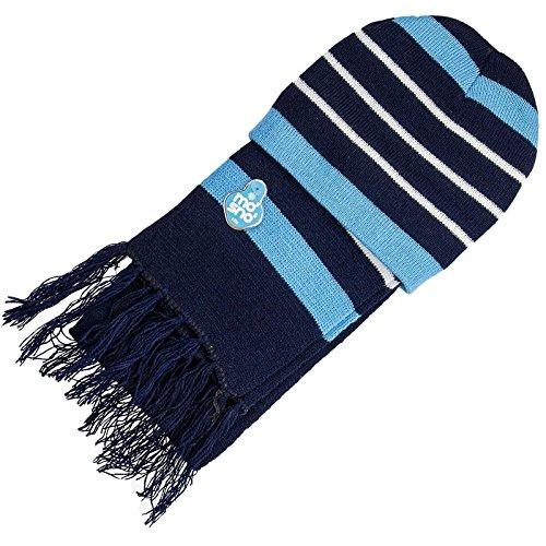 Jüngere Mädchen & Jungen Strickmütze Stripe Beanie Hat & Schal Set Gr. Small, blau