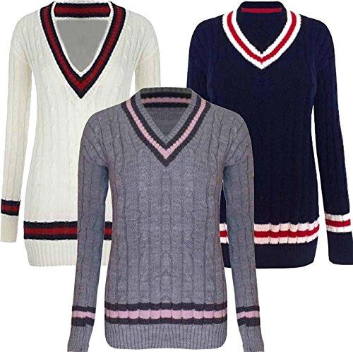 Missmister Mens Womens Unisex Plus Size V Neck Cable Knit Cricket Jumper Sweater Pullover UK 16-26