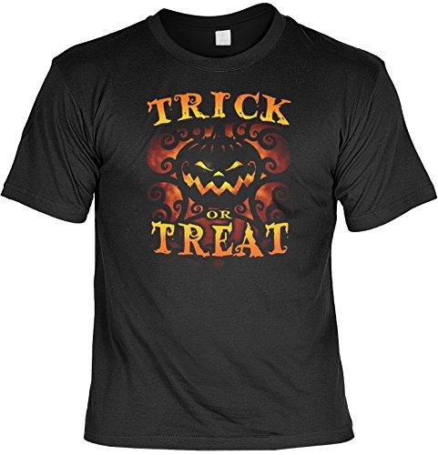 Shirt - Halloween - T-Shirt Herren lässiger Kürbis Druck: Halloween - Trick or Treat - tolles Halloween-Motiv Schwarz