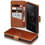 Terrapin, Kompatibel mit Sony Xperia XZ1 Hülle, [ECHT LEDER] Brieftasche Case Tasche mit Standfunktion Kartenfächer und Bargeld - Cognac