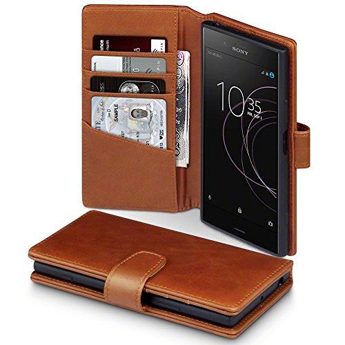 Terrapin, Kompatibel mit Sony Xperia XZ1 Hülle, [ECHT LEDER] Brieftasche Case Tasche mit Standfunktion Kartenfächer und Bargeld - Cognac EINWEG