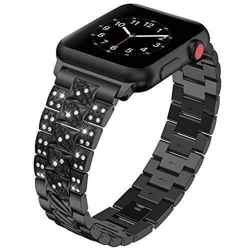 Für Apple Watch Armband 38MM, Purple Angel iWatch Series 3 Ersatz Uhrenarmband Armbänder Zinklegierung Metall Band mit Glitzer Diamant Smart Watch Replacement Wrist Strap mit Metallschließe für Apple Watch Series 3/2/1, Nike+, Edition, Schwarz