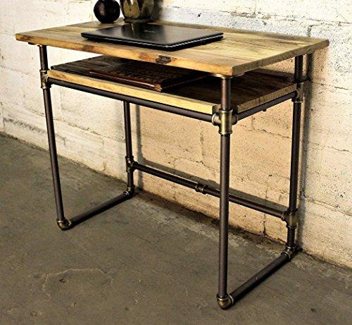 Antike Messing Natur Finish (Möbel Pipeline Industrie Schreibtisch mit Unterer Ablage, Metall mit Wieder Aged Holz Finish, grau Stahl rohre- und Messing mit Natur gebeizt Holz)
