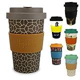 Morgenheld ☀ Dein trendiger Bambusbecher | umweltfreundlicher Coffee-to-Go-Becher | nachhaltiger Kaffeebecher mit Schraubdeckel und Banderole in coolem Design 400 ml Füllmenge (Brownie)