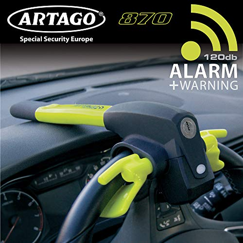 Artago 870 Canne Antivol Voiture 2en1 Bloque Volant et Alarme Intelligente 120 DB
