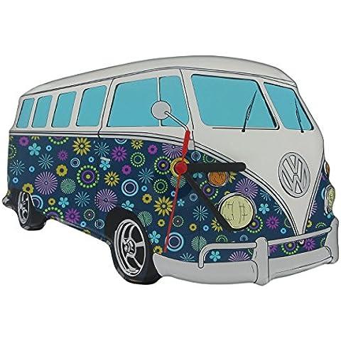Producto oficial de VW T1Furgoneta recortado Reloj de pared, diseño de flores, color azul marino. Volkswagen Original Merchandise