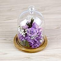 lkklily-seventh Eve Cubierta de vidrio rosa niña amigo cumpleaños creativa bambú parte inferior cubierta de cristal regalo del día de San Valentín