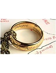 De el Señor de los anillo/Hobbit: la réplica one anillo chapado en oro con Bolsa regalo y caja