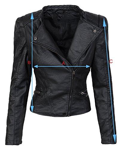 Designer Damen Biker Jacke Kunstleder Jacke Übergangs Jacke D-280 S-XL Schwarz