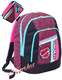 08a99a6860 ZAINO SCUOLA SEVEN NEW ADVANCED REBEL GIRL NERO+ ASTUCCIO 3 ZIP SCHOOLPACK