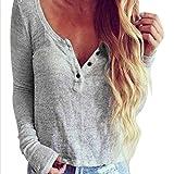 OSYARD Damen Lässige Strickbluse Langarmshirt T-Shirt Bluse Tops(EU 42/M, Grau)