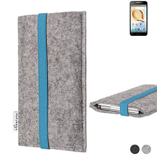flat.design Handy Hülle Coimbra für Alcatel A30 Plus - Schutz Case Tasche Filz Made in Germany hellgrau türkis