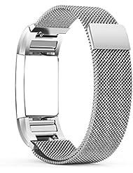Fitbit Charge 2 Correa - Milanese Bucle Acero Inoxidable Watch Band de Reloj Strap Bracelete,Hanlesi Pulsera de Acero Inoxidable Fitness Wristband para Fitbit Charge 2 (Silver, Small)