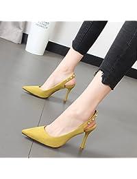 Xue Qiqi Luz de punta fina con el alto talón zapatos pequeños frescos y elegantes sandalias dulce hembra,37, mostaza...