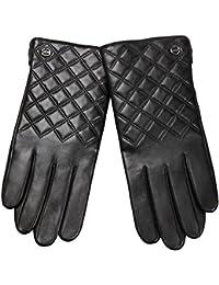 ELMA Nappaleder-Handschuhe für Herren, wattiert mit Thinsulate, Karo-Steppung, vergoldetem Logo