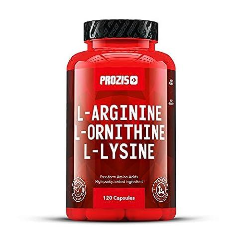 Prozis reines L-Arginin L-Ornithin L-Lysin Ergänzungsmittel Kapseln - Essentieller Aminosäurenkomplex zur Unterstützung der kardiovaskulären Gesundheit, Gewichtsverlust und Energie - 120