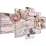 Bilder Engel Blumen Wandbild 200 x 100 cm Vlies - Leinwand Bild XXL Format Wandbilder Wohnzimmer Wohnung Deko Kunstdrucke Rosa 5 Teilig - MADE IN GERMANY - Fertig zum Aufhängen 005751b