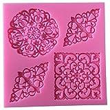 Lynch 3 Arten Blumen-Silikon-Kuchen-Form-Spitze-Fondant-Küchen-Backen-Werkzeuge,Rosa