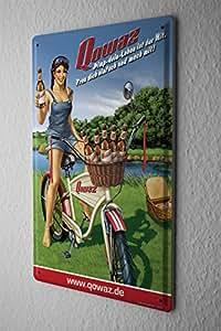 Bière Plaque Émaillée Décor Rétro Fürstenberg Rétro publicité Qowaz vélo fille pique nique AmUSAnt Salle De Fête Décoration Murale 20X30 cm