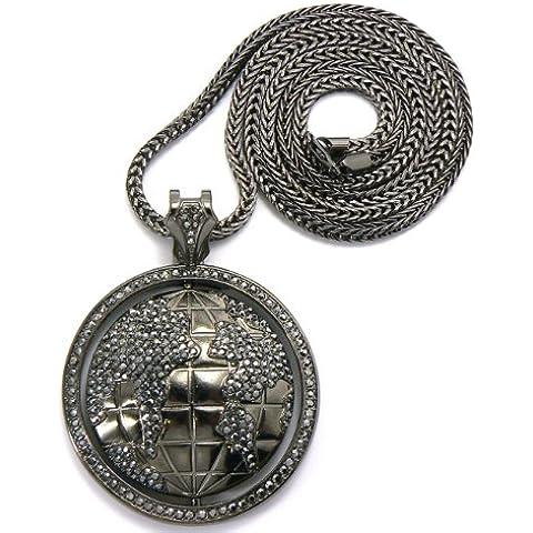 Ematite tono strass Globe Pendant w/4mm 91,44cm catena Franco mp478he