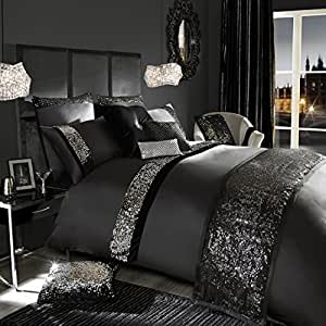 velvetina noir paillette housse de couette pour lit simple par kylie minogue cuisine. Black Bedroom Furniture Sets. Home Design Ideas