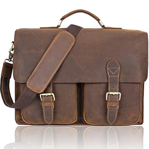 NiceEbag Vintage Aktentasche aus echtem Leder Business Messenger Bag Umhängetasche Tragetasche Lehrertasche Herren/Damen Schultertasche Laptoptasche für 15,6 Zoll Laptop/Notebook (Braun)