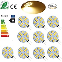 Ei-Home 10 Pack Warm White 3000K Bulón lateral G4 LED Bulb, 3W Equivalente a 25-30W Bulbo halógeno, 5050-12SMD DC 12V Luces LED para lectura, automóvil, RV, iluminación de gabinete (no regulable)
