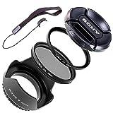 Lumos Lot de 5avec couvercle 55mm Pare-soleil d'objectif Filtre UV CPL Filtre polarisant et support pour chaque Sony Caméscope Appareil photo avec filetage 55mm cannelées Sony DSC DSC-HX400V HX300Fdr de AX53DT 18–55mm 3.5–5.6Sam II sal35F18