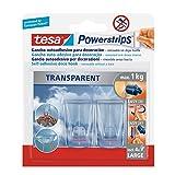 tesa Powerstrips Deco - Pack de 2 ganchos (XL) y 4 tiras (L) color transparente