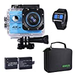 Action cam 4K Unterwasserkamera UHD WIFI mit Fernbedienung, 2 verbessert Akkus