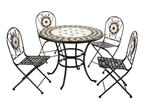 Roma 4 Seat Steel & Mosaic Tile Table & Chair Set Top Quality