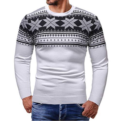 Uomini Maglione Uomo Cashmere 100% Stampa di Natale Puro Lana Pullover A Manica Lunga con Girocollo Soffice E Morbido Qinsling