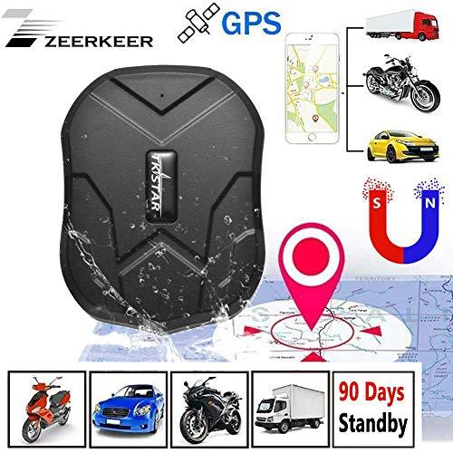 Zeerkeer,Starker Magnet GPS-Tracker,Fahrzeug Tracker Echtzeit Monitoring System, wasserdicht GPS Locator, Anti Verloren GPS Ortungsgerät mit Kostenlos APP für Smartphone (5000MAH) - Für Gps-systeme Boote