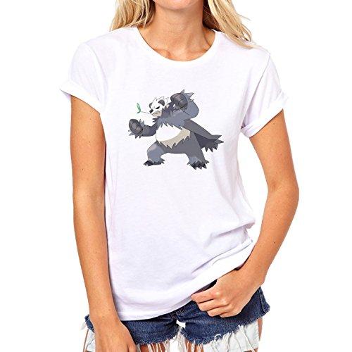 Pokemon Panda Grey And Black Angry Damen T-Shirt Weiß