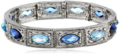 """1928 Jewelry """"Essentials"""", colore: argento, tonalità, colore: zaffiro e acquamarina-Bracciale elastico, colore: blu, 19,05 (7,5 cm"""