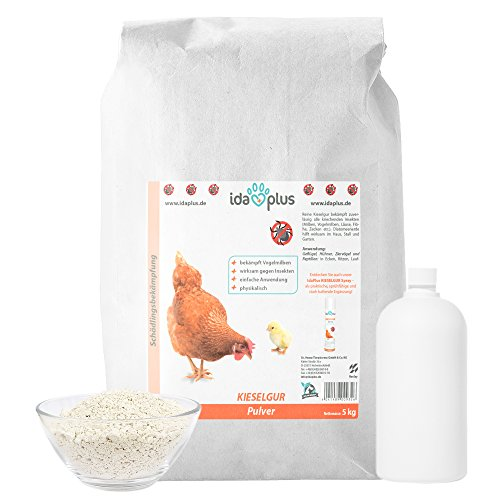 Ida Plus Kieselgur Sack - Kieselerde Pulver für Hühner, Geflügel & Kaninchen, 5 kg