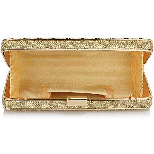 Xardi London-Baguette, in metallo, per damigella d'onore-Borsa da donna, per abiti da sera Sera UK Oro (oro)