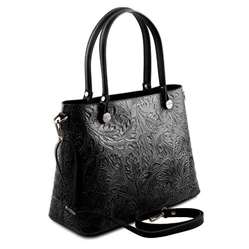 Tuscany Leather Atena Borsa shopping in pelle Ruga stampa floreale - TL141655 (Blu scuro) Nero